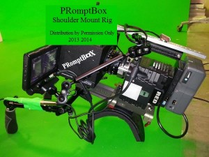 PRomptBox teleprompter on a Shoulder Mount Video Camera Rig