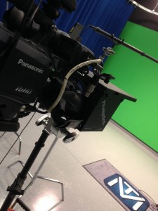 Shoreline Media Productions using portable teleprompter