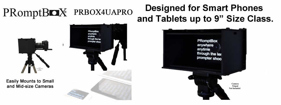 Portable, light weight teleprompter uses iPad